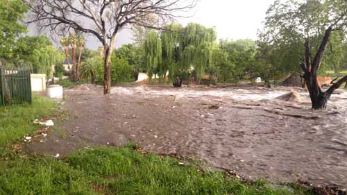 The Sandspruit in flood